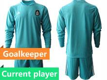 Mens 20-21 Soccer Mexico National Team Current Player Blue Goalkeeper Long Sleeve Suit Jersey