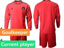 Mens 20-21 Soccer Mexico National Team Current Player Red Goalkeeper Long Sleeve Suit Jersey