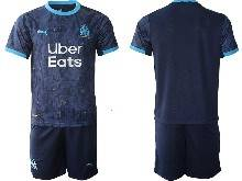 Mens 20-21 Soccer Olympique De Marseille Club ( Custom Made ) Navy Away Short Sleeve Suit Jersey