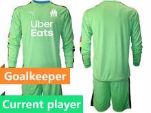 Mens 20-21 Soccer Olympique De Marseille Club Current Player Green Goalkeeper Long Sleeve Suit Jersey