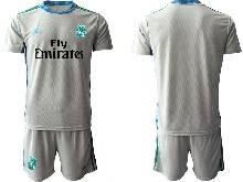 Mens 20-21 Soccer Real Madrid Club ( Custom Made ) Gray Goalkeeper Short Sleeve Suit Jersey