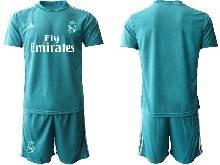 Mens 20-21 Soccer Real Madrid Club ( Custom Made ) Blue Goalkeeper Short Sleeve Suit Jersey