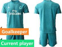 Mens 20-21 Soccer Real Madrid Club Current Player Blue Goalkeeper Short Sleeve Suit Jersey