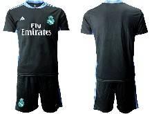 Mens 20-21 Soccer Real Madrid Club ( Custom Made ) Black Goalkeeper Short Sleeve Suit Jersey