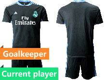 Mens 20-21 Soccer Real Madrid Club Current Player Black Goalkeeper Short Sleeve Suit Jersey