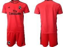 Mens 20-21 Soccer Real Madrid Club ( Custom Made ) Red Goalkeeper Short Sleeve Suit Jersey