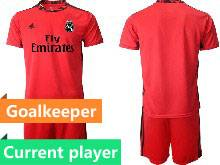 Mens 20-21 Soccer Real Madrid Club Current Player Red Goalkeeper Short Sleeve Suit Jersey