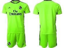 Mens 20-21 Soccer Real Madrid Club ( Custom Made ) Fluorescence Green Goalkeeper Short Sleeve Suit Jersey