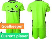 Mens 20-21 Soccer Real Madrid Club Current Player Fluorescence Green Goalkeeper Short Sleeve Suit Jersey