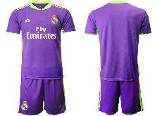 Mens 20-21 Soccer Real Madrid Club ( Custom Made ) Purple Goalkeeper Short Sleeve Suit Jersey