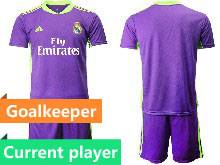Mens 20-21 Soccer Real Madrid Club Current Player Purple Goalkeeper Short Sleeve Suit Jersey