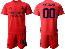 Mens 20-21 Soccer Real Madrid Club ( Custom Made ) Red Away Short Sleeve Suit Jersey