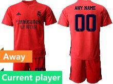 Mens 20-21 Soccer Real Madrid Club Current Player Red Away Short Sleeve Suit Jersey
