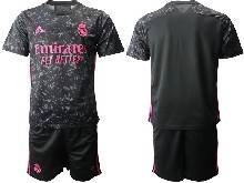 Mens 20-21 Soccer Real Madrid Club ( Custom Made ) Black Second Away Short Sleeve Suit Jersey