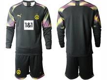 Mens 20-21 Soccer Borussia Dortmund Club ( Custom Made ) Black Goalkeeper Long Sleeve Suit Jersey