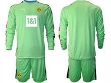 Mens 20-21 Soccer Borussia Dortmund Club ( Custom Made ) Green Goalkeeper Long Sleeve Suit Jersey