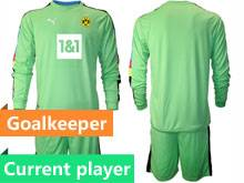Mens 20-21 Soccer Borussia Dortmund Club Current Player Green Goalkeeper Long Sleeve Suit Jersey