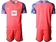 Mens 20-21 Soccer Borussia Dortmund Club ( Custom Made ) Pink Goalkeeper Short Sleeve Suit Jersey