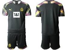 Mens 20-21 Soccer Borussia Dortmund Club ( Custom Made ) Black Goalkeeper Short Sleeve Suit Jersey