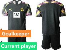 Mens 20-21 Soccer Borussia Dortmund Club Current Player Black Goalkeeper Short Sleeve Suit Jersey