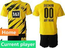 Mens 20-21 Soccer Borussia Dortmund Club Current Player Yellow Home Short Sleeve Suit Jersey