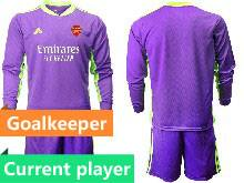 Mens 20-21 Soccer Arsenal Club Current Player Purple Goalkeeper Long Sleeve Suit Jersey