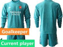 Mens 20-21 Soccer Arsenal Club Current Player Blue Goalkeeper Long Sleeve Suit Jersey