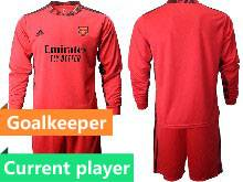 Mens 20-21 Soccer Arsenal Club Current Player Red Goalkeeper Long Sleeve Suit Jersey
