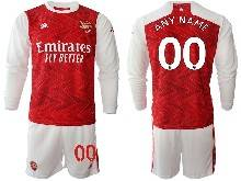 Mens 20-21 Soccer Arsenal Club ( Custom Made ) Red Home Long Sleeve Suit Jersey