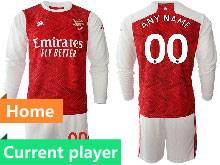 Mens 20-21 Soccer Arsenal Club Current Player Red Home Long Sleeve Suit Jersey