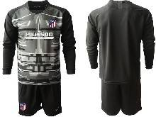 Mens 20-21 Soccer Atletico De Madrid Club ( Custom Made ) Black Goalkeeper Long Sleeve Suit Jersey