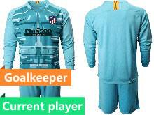 Mens 20-21 Soccer Atletico De Madrid Club Current Player Blue Goalkeeper Long Sleeve Suit Jersey