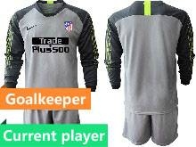 Mens 20-21 Soccer Atletico De Madrid Club Current Player Gray Goalkeeper Long Sleeve Suit Jersey