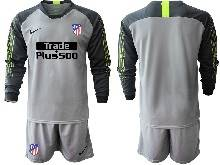 Mens 20-21 Soccer Atletico De Madrid Club ( Custom Made ) Gray Goalkeeper Long Sleeve Suit Jersey