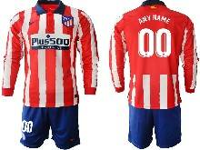 Mens 20-21 Soccer Atletico De Madrid Club ( Custom Made ) Gred And White Stripe Home Long Sleeve Suit Jersey