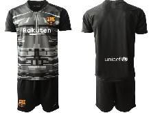 Mens 20-21 Soccer Barcelona Club ( Custom Made ) Black Goalkeeper Short Sleeve Suit Jersey