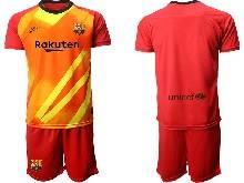 Mens 20-21 Soccer Barcelona Club ( Custom Made ) Red Goalkeeper Short Sleeve Suit Jersey