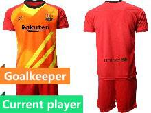 Mens 20-21 Soccer Barcelona Club Current Player Red Goalkeeper Short Sleeve Suit Jersey