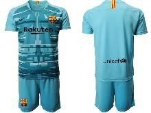 Mens 20-21 Soccer Barcelona Club ( Custom Made ) Blue Goalkeeper Short Sleeve Suit Jersey