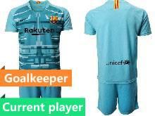 Mens 20-21 Soccer Barcelona Club Current Player Blue Goalkeeper Short Sleeve Suit Jersey
