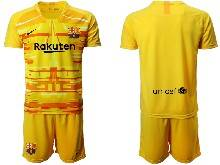 Mens 20-21 Soccer Barcelona Club ( Custom Made ) Yellow Goalkeeper Short Sleeve Suit Jersey