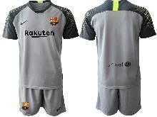 Mens 20-21 Soccer Barcelona Club ( Custom Made ) Gray Goalkeeper Short Sleeve Suit Jersey