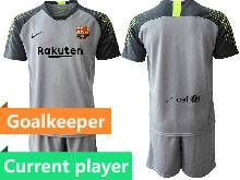 Mens 20-21 Soccer Barcelona Club Current Player Gray Goalkeeper Short Sleeve Suit Jersey