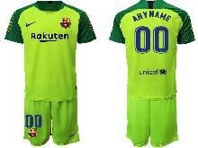 Mens 20-21 Soccer Barcelona Club ( Custom Made ) Green Goalkeeper Short Sleeve Suit Jersey