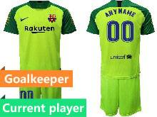 Mens 20-21 Soccer Barcelona Club Current Player Green Goalkeeper Short Sleeve Suit Jersey