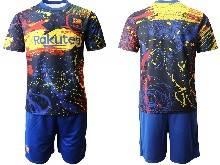 Mens 20-21 Soccer Barcelona Club ( Custom Made ) Blue Short Sleeve Suit Jersey