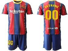 Mens 20-21 Soccer Barcelona Club ( Custom Made ) Red And Blue Stripe Home Short Sleeve Suit Jersey