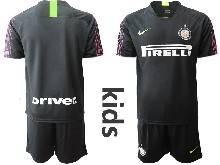 Kids 20-21 Soccer Inter Milan Club ( Custom Made ) Black Goalkeeper Short Sleeve Suit Jersey