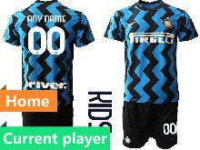Kids 20-21 Soccer Inter Milan Club ( Custom Made ) Blue Home Short Sleeve Suit Jersey