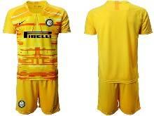 Mens 20-21 Soccer Inter Milan Club ( Custom Made ) Yellow Goalkeeper Short Sleeve Suit Jersey